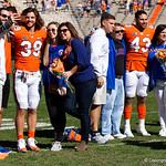 University of Florida Gators tight end Ryan Ferguson and linebacker Christian Garcia with familes during senior day festivities in which the Gators lost 38-22 to the Florida State Seminoles at  Ben Hill Griffin Stadium in Gainesville, Florida. November 25th, 2017.  Gator Country photo by David Bowie.