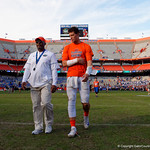 University of Florida Gators quarterback Feleipe Franks walks off the field in pain during post-game in which the Gators lost 38-22 to the Florida State Seminoles at  Ben Hill Griffin Stadium in Gainesville, Florida. November 25th, 2017.  Gator Country photo by David Bowie.