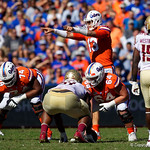 University of Florida Gators quarterback Feleipe Franks calls out coverages during the first half in which the Gators lost 38-22 to the Florida State Seminoles at  Ben Hill Griffin Stadium in Gainesville, Florida. November 25th, 2017.  Gator Country photo by David Bowie.