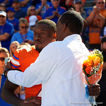 University of Florida Gators interim head coach Randy Shannon congratulates University of Florida Gators defensive back Duke Dawson during senior day festivities in which the Gators lost 38-22 to the Florida State Seminoles at  Ben Hill Griffin Stadium in Gainesville, Florida. November 25th, 2017.  Gator Country photo by David Bowie.