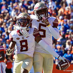 Florida State Seminoles wide receivers Nyqwan Murray and Ermon Lane celebrate in the endzone during the first half in which the Gators lost 38-22 to the Florida State Seminoles at  Ben Hill Griffin Stadium in Gainesville, Florida. November 25th, 2017.  Gator Country photo by David Bowie.