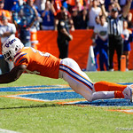 University of Florida Gators running back Mark Thompson rushes into the endzone during the first half in which the Gators lost 38-22 to the Florida State Seminoles at  Ben Hill Griffin Stadium in Gainesville, Florida. November 25th, 2017.  Gator Country photo by David Bowie.