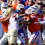 University of Florida Gators defenive back Brad Stewart gets into a fight with a Florida State player during the first half in which the Gators lost 38-22 to the Florida State Seminoles at  Ben Hill Griffin Stadium in Gainesville, Florida. November 25th, 2017.  Gator Country photo by David Bowie.
