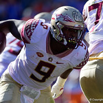 Seminoles running back Jacques Patrick rushing during the second half in which the Gators lost 38-22 to the Florida State Seminoles at  Ben Hill Griffin Stadium in Gainesville, Florida. November 25th, 2017.  Gator Country photo by David Bowie.