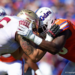 University of Florida Gators defensive end Antonneous Clayton battling at the line of scrimmage during the first half in which the Gators lost 38-22 to the Florida State Seminoles at  Ben Hill Griffin Stadium in Gainesville, Florida. November 25th, 2017.  Gator Country photo by David Bowie.