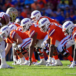 University of Florida Gators offensive lineman Jawaan Taylor and the Florida offensive line during the second half in which the Gators lost 38-22 to the Florida State Seminoles at  Ben Hill Griffin Stadium in Gainesville, Florida. November 25th, 2017.  Gator Country photo by David Bowie.