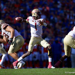 Florida State Seminoles quarterback James Blackman throwing during the second half in which the Gators lost 38-22 to the Florida State Seminoles at  Ben Hill Griffin Stadium in Gainesville, Florida. November 25th, 2017.  Gator Country photo by David Bowie.
