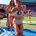 The Florida State cheerleaders during the second half in which the Gators lost 38-22 to the Florida State Seminoles at  Ben Hill Griffin Stadium in Gainesville, Florida. November 25th, 2017.  Gator Country photo by David Bowie.