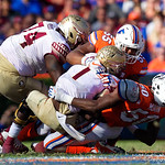 University of Florida Gators defensive lineman Kyree Campbell and University of Florida Gators linebacker Jeremiah Moon combine for a tackle during the second half in which the Gators lost 38-22 to the Florida State Seminoles at  Ben Hill Griffin Stadium in Gainesville, Florida. November 25th, 2017.  Gator Country photo by David Bowie.
