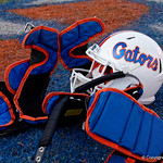 University of Florida Gators quarterback Feleipe Franks pads and helmets sit at mid-field during post-game in which the Gators lost 38-22 to the Florida State Seminoles at  Ben Hill Griffin Stadium in Gainesville, Florida. November 25th, 2017.  Gator Country photo by David Bowie.
