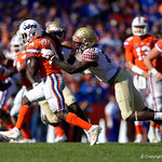 University of Florida Gators wide receiver Brandon Powell makes a catch during the second half in which the Gators lost 38-22 to the Florida State Seminoles at  Ben Hill Griffin Stadium in Gainesville, Florida. November 25th, 2017.  Gator Country photo by David Bowie.
