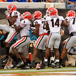 Georgia defensive back J.R. Reed and the BUlldgos celebrate after scoring during the second half as the Gators lose to 42-7 to the Georgia Bulldogs at EverBank Field in Jacksonville, Florida.  October 28th, 2017.  Gator Country photo by David Bowie.