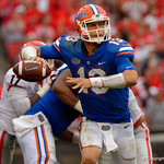 University of Florida Gators quarterback Feleipe Franks throwing during the second half as the Gators lose to 42-7 to the Georgia Bulldogs at EverBank Field in Jacksonville, Florida.  October 28th, 2017.  Gator Country photo by David Bowie.