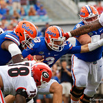 University of Florida Gators quarterback Feleipe Franks being sacked during the first half as the Gators lose to 42-7 to the Georgia Bulldogs at EverBank Field in Jacksonville, Florida.  October 28th, 2017.  Gator Country photo by David Bowie.