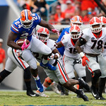 University of Florida Gators linebacker Lacedrick Brunson being tackled during the first half as the Gators lose to 42-7 to the Georgia Bulldogs at EverBank Field in Jacksonville, Florida.  October 28th, 2017.  Gator Country photo by David Bowie.