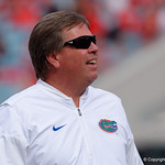 University of Florida Gators head coach Jim McElwain during pre=game as the Gators lose to 42-7 to the Georgia Bulldogs at EverBank Field in Jacksonville, Florida.  October 28th, 2017.  Gator Country photo by David Bowie.