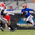 University of Florida Gators athlete Kadarius Toney sprinting downfield during the first half as the Gators lose to 42-7 to the Georgia Bulldogs at EverBank Field in Jacksonville, Florida.  October 28th, 2017.  Gator Country photo by David Bowie.