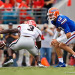 University of Florida Gators quarterback Feleipe Franks fumbles the ball during the first half as the Gators lose to 42-7 to the Georgia Bulldogs at EverBank Field in Jacksonville, Florida.  October 28th, 2017.  Gator Country photo by David Bowie.