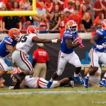 University of Florida Gators running back Mark Thompson rushing during the second half as the Gators lose to 42-7 to the Georgia Bulldogs at EverBank Field in Jacksonville, Florida.  October 28th, 2017.  Gator Country photo by David Bowie.