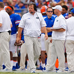 University of Florida Gators head coach Jim McElwain walking the sideline during the first half as the Gators lose to 42-7 to the Georgia Bulldogs at EverBank Field in Jacksonville, Florida.  October 28th, 2017.  Gator Country photo by David Bowie.