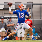 University of Florida Gators quarterback Feleipe Franks throwing during the first half as the Gators lose to 42-7 to the Georgia Bulldogs at EverBank Field in Jacksonville, Florida.  October 28th, 2017.  Gator Country photo by David Bowie.