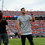 Former Florida Gators quarterback Tim Tebow is honored during pre=game as he is inducted into the Florida-Georgai Hall of Fame, as the Gators lose to 42-7 to the Georgia Bulldogs at EverBank Field in Jacksonville, Florida.  October 28th, 2017.  Gator Country photo by David Bowie.