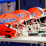 The Florida Gators helmet during the first half as the Gators lose to 42-7 to the Georgia Bulldogs at EverBank Field in Jacksonville, Florida.  October 28th, 2017.  Gator Country photo by David Bowie.