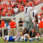 University of Florida Gators quarterback Feleipe Franks lays on the ground after being hit during the second half as the Gators lose to 42-7 to the Georgia Bulldogs at EverBank Field in Jacksonville, Florida.  October 28th, 2017.  Gator Country photo by David Bowie.