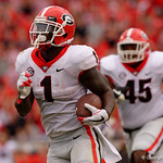 Georgia Bulldogs running back Sony Michel rushes for a touchdown during the second half as the Gators lose to 42-7 to the Georgia Bulldogs at EverBank Field in Jacksonville, Florida.  October 28th, 2017.  Gator Country photo by David Bowie.