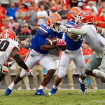 University of Florida Gators running back Lamical Perine rushing during the second half as the Gators lose to 42-7 to the Georgia Bulldogs at EverBank Field in Jacksonville, Florida.  October 28th, 2017.  Gator Country photo by David Bowie.