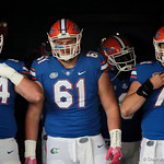 University of Florida Gators offensive linemen Tyler Jordan, Brett Heggie and Nick Villano prepare to take the field during pre=game as the Gators lose to 42-7 to the Georgia Bulldogs at EverBank Field in Jacksonville, Florida.  October 28th, 2017.  Gator Country photo by David Bowie.