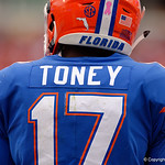 University of Florida Gators athlete Kadarius Toney during the first half as the Gators lose to 42-7 to the Georgia Bulldogs at EverBank Field in Jacksonville, Florida.  October 28th, 2017.  Gator Country photo by David Bowie.