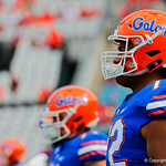University of Florida Gators offensive lineman Stone Forsythe during pre=game as the Gators lose to 42-7 to the Georgia Bulldogs at EverBank Field in Jacksonville, Florida.  October 28th, 2017.  Gator Country photo by David Bowie.