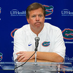 University of Florida Gators head coach Jim McElwain during the post-game press conference as the Gators lose to 42-7 to the Georgia Bulldogs at EverBank Field in Jacksonville, Florida.  October 28th, 2017.  Gator Country photo by David Bowie.