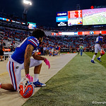 University of Florida Gators tight end DeAndre Goolsby during post-game as the Gators lose to 42-7 to the Georgia Bulldogs at EverBank Field in Jacksonville, Florida.  October 28th, 2017.  Gator Country photo by David Bowie.