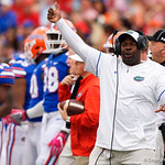 University of Florida Gators linebackers coach Tim Skipper during the first half as the Gators lose to 42-7 to the Georgia Bulldogs at EverBank Field in Jacksonville, Florida.  October 28th, 2017.  Gator Country photo by David Bowie.