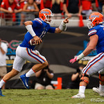 University of Florida Gators quarterback Feleipe Franks scrambling during the first half as the Gators lose to 42-7 to the Georgia Bulldogs at EverBank Field in Jacksonville, Florida.  October 28th, 2017.  Gator Country photo by David Bowie.