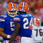 University of Florida Gators running back Mark Thompson and University of Florida Gators offensive lineman Kavaris Harkless celenbrate after Thompson rushed into the endzone during the second half as the Gators lose to 42-7 to the Georgia Bulldogs at EverBank Field in Jacksonville, Florida.  October 28th, 2017.  Gator Country photo by David Bowie.