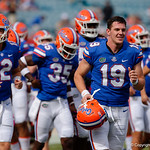 University of Florida Gators punter Johnny Townsend runs onto the field during pre=game as the Gators lose to 42-7 to the Georgia Bulldogs at EverBank Field in Jacksonville, Florida.  October 28th, 2017.  Gator Country photo by David Bowie.