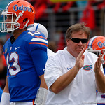 University of Florida Gators head coach Jim McElwain and quarterback Feleipe Franks during pre=game as the Gators lose to 42-7 to the Georgia Bulldogs at EverBank Field in Jacksonville, Florida.  October 28th, 2017.  Gator Country photo by David Bowie.