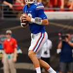 University of Florida Gators quarterback Feleipe Franks dropping back to pass during the first half as the Gators lose to 42-7 to the Georgia Bulldogs at EverBank Field in Jacksonville, Florida.  October 28th, 2017.  Gator Country photo by David Bowie.