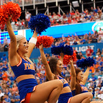 The Florida Gators cheerleaders cheer on during the second half as the Gators lose to 42-7 to the Georgia Bulldogs at EverBank Field in Jacksonville, Florida.  October 28th, 2017.  Gator Country photo by David Bowie.