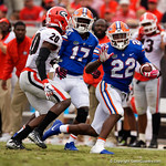 University of Florida Gators running back Lamical Perine rushing during the first half as the Gators lose to 42-7 to the Georgia Bulldogs at EverBank Field in Jacksonville, Florida.  October 28th, 2017.  Gator Country photo by David Bowie.
