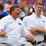 University of Florida Gators head coach Jim McElwain during the first half as the Gators lose to 42-7 to the Georgia Bulldogs at EverBank Field in Jacksonville, Florida.  October 28th, 2017.  Gator Country photo by David Bowie.