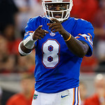University of Florida Gators quarterback Malik Zaire calling out coverage adjustments at the line of scrimmage during the second half as the Gators lose to 42-7 to the Georgia Bulldogs at EverBank Field in Jacksonville, Florida.  October 28th, 2017.  Gator Country photo by David Bowie.