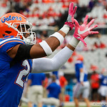 University of Florida Gators defensive back Jeawon Taylor during pre=game as the Gators lose to 42-7 to the Georgia Bulldogs at EverBank Field in Jacksonville, Florida.  October 28th, 2017.  Gator Country photo by David Bowie.