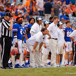 University of Florida Gators head coach Jim McElwain watches on from the sideline during the second half as the Gators lose to 42-7 to the Georgia Bulldogs at EverBank Field in Jacksonville, Florida.  October 28th, 2017.  Gator Country photo by David Bowie.