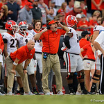 Georgia Bulldogs head coach Kirby Smart during the second half as the Gators lose to 42-7 to the Georgia Bulldogs at EverBank Field in Jacksonville, Florida.  October 28th, 2017.  Gator Country photo by David Bowie.
