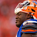 University of Florida Gators defensive lineman Tedarrell Slaton during the second half as the Gators lose to 42-7 to the Georgia Bulldogs at EverBank Field in Jacksonville, Florida.  October 28th, 2017.  Gator Country photo by David Bowie.
