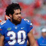 University of Florida Gators tight end DeAndre Goolsby during pre=game as the Gators lose to 42-7 to the Georgia Bulldogs at EverBank Field in Jacksonville, Florida.  October 28th, 2017.  Gator Country photo by David Bowie.